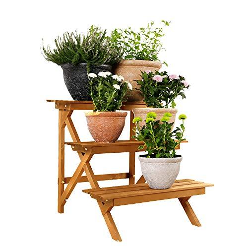 Worth Holz Blumentreppe Blumenregal Pflanzregal 3 Stufig Blumenständer Pflanzentreppe 60 x 60 x 60 cm Natur