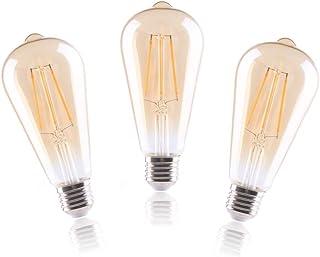 ELINKUME 8W E27 Bombillas LED Vintage Edison, Blanco Caliente Regulable, ST64 Ámbar Retro Bombillas Decorativas, Sin Parpadeo, 3200K 800LM, Pack de 3 Unidades, [Clase de eficiencia energética A+]