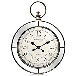 SwizMiuArt Large Pocket Watch Modern Wall Clock 24 inch with Mirror Decorative Silent No Noise for Bedroom Living Room Kitchen & Dining