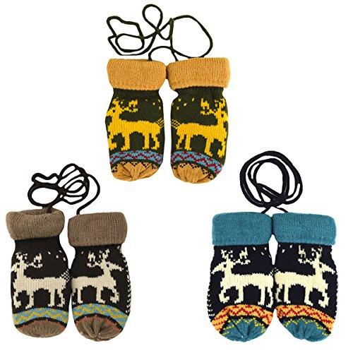 La Haute pour enfants hiver chaud gants en tricot thermique gants de cadeaux de Noël noir/marron
