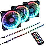 LEDdess Addressable RGB LED 120mm Case Fan with Controller for PC Cases, CPU Coolers, Radiators System (3pcs RGB Fans, 2pcs led Strips, 4th Gen RF Remote Control, A Series)