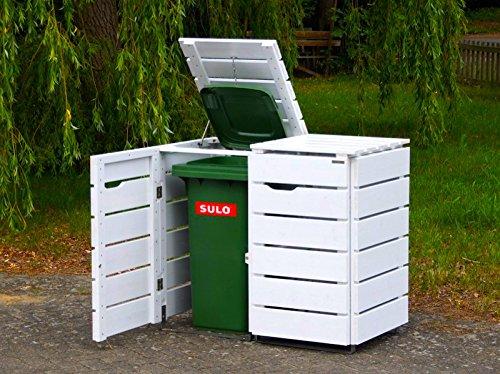 binnen-markt 2er Mülltonnenbox/Mülltonnenverkleidung 120 L Holz, Weiß
