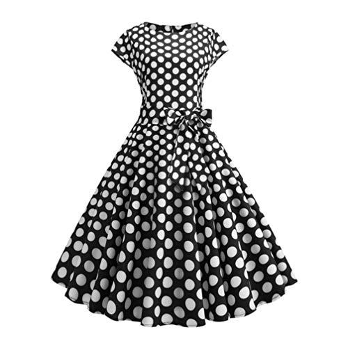 TENDYCOCO Zomer Zwart Polka Dot Crew Neck Jurk Vintage Korte Mouw Rok Swing Casual Midi Jurk voor Dames Vrouwen