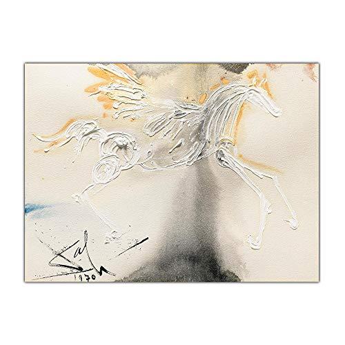 Caballo con Alas PóSter Salvador Dali 《Pegasus》 Lienzo Arte óLeo Pintura Abstracto Animal Pared Cuadro Moderno Salon Dormitorio Decoracion 50x70cm No Marco
