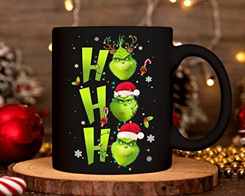 Lplpol Grinch Ho Ho Ho Tasse Kostüm Rentier Weihnachten Süßigkeiten Nikolausmütze Keramik Kaffee Tee Tasse Weihnachten 2020 Xmas Santa Claus Geschenk für Männer Frauen