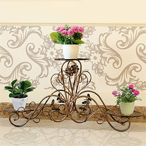 MingXinJia Soporte de Suelo para Jardín Soporte Vertical para Macetas para Interiores Y Exteriores Planta de Metal Plantación de Flores Maceta 3 Macetas para Macetas Soporte para Flores Decoración de