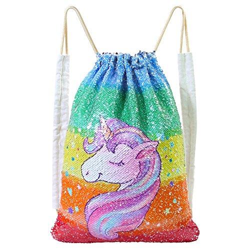 MHJY Unicorn Bag Reversible Sequin Drawstring Bag Sparkly Gym Dance Backpack,Colorful