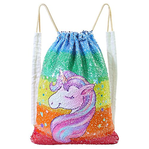 MHJY Unicorn Bag Reversible Sequin Drawstring Bag Sparkly Gym Dance Backpack (Colorful Unicorn)