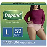 Depend FIT-FLEX Incontinence Underwear for Women, Disposable, Maximum Absorbency, Large, Blush, 52 Count (2 Packs of 26) (Packaging May Vary)