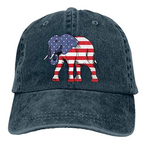 shenguang Republikanischer Elefant Amerikanische Flagge Unisex Unisex Denim Strapback Baseball Cap Verstellbarer Trucker Dad Hut