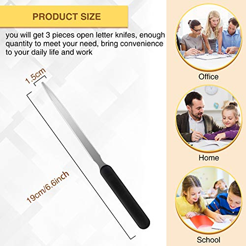 3 Pieces Office Letter Opener Stainless Steel Hand Envelope Slitter Lightweight Open Letter Knife Humanized Grip Handle Staple Removal Tool Mail Opener for School Office Home Photo #5