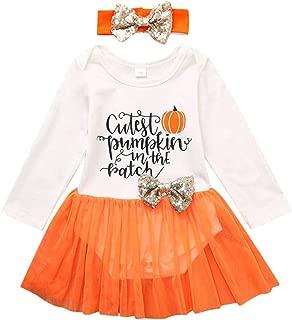 ajhgf Infant Girls Halloween Letter Romper Bodysuit Tulle Dress Headband Outfits