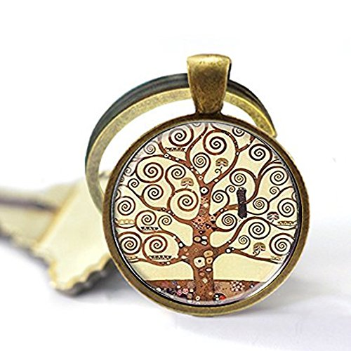 Preisvergleich Produktbild Gustav Klimt Baum des Lebens Schlüsselanhänger,  Baum des Lebens Schlüsselanhänger,  Silber und Glaskuppel Kunst Schlüsselanhänger