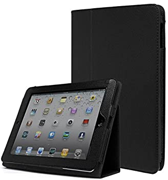 iPad 1 Case Bastex Folio Synthetic Leather Case Cover with Built-in Stand for Apple iPad 1 1st Generation - Black