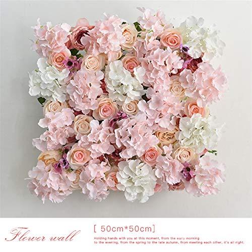 HGDD Künstliche Blumen Künstliche Blume Wand Hochzeit Hintergrund Wanddekor Dekor Seide Gefälschte Blumen-Foto-Hintergrund-Fenster-Shop-Party-Layout-Blumenreihen (Color : 01 50cm by 50cm)