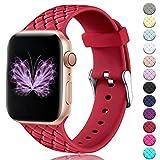 HUMENN Sport Bracelets Compatible avec Apple Watch 38mm 42mm 40mm 44mm, Bandes de Rechange pour Femmes, Motif en Silicone Souple...