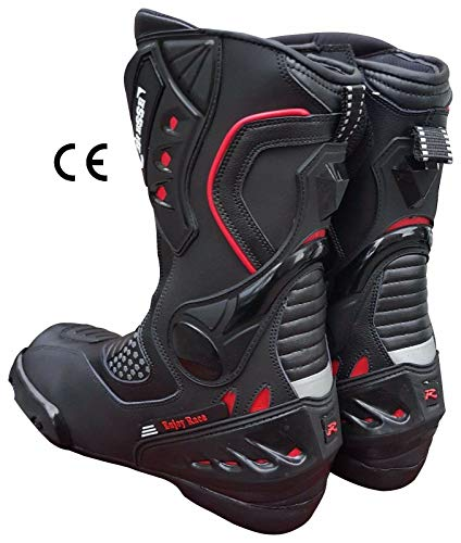 BIESSE - Stivali Stivaletto Moto, modello Sportivo Racing Pista, Pelle Professionale Traspirante, Omologati CE (Nero/Rosso, 44)