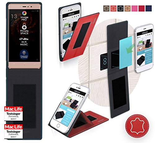 reboon Hülle für Allview X3 Soul Style Tasche Cover Case Bumper | Rot Leder | Testsieger