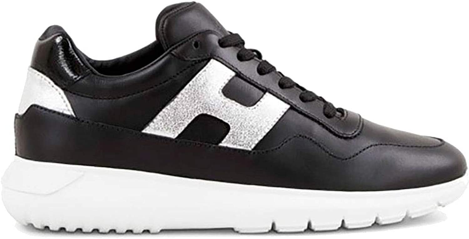 Hogan INTERACTIVE3 in Black Leather and Silver H, Womens.