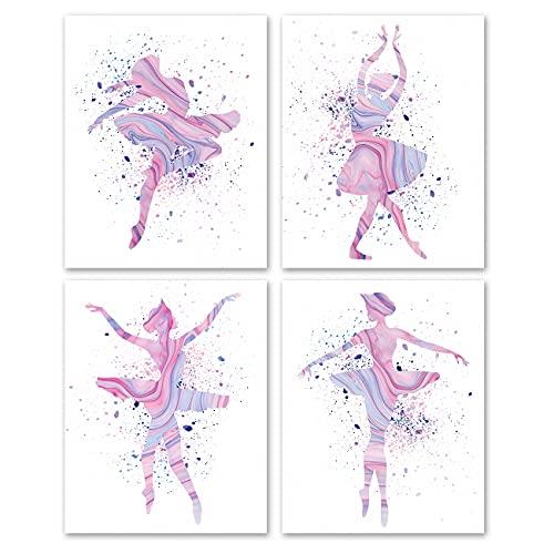 Set of 4 Modern Dance Watercolor Prints Wall Art Prints,Dancing Poster Wall Art Décor for Dance Studio Girls Room Bedroom(8x10 Unframed)