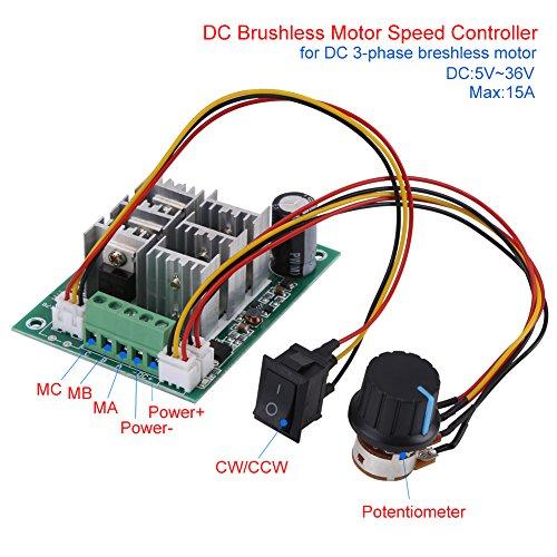 Motordrehzahlregler,DC-Motordrehzahlregler DC-Motortreiber-Modul, für bürstenlosen 3-Phasen-Motor und unterstützt den Motor CW CCW,DC5-36V,5A