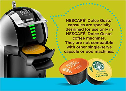 Nescafé dolce gusto coffee machine, genio 2, espresso, cappuccino and latte pod machine 6 the nescafe dolce gusto genio 2 is an automatic capsule coffee machine, designed to perfectly fit your single cup, black and specialty coffee brewing needs with a small footprint coffee house inspired drinks - explore the wide variety of decadent flavors and coffee house inspired drinks offered by the nescafe dolce gusto capsule-based coffee machine. With 15 flavor varieties, choose from authentic espresso, americano, cappuccino, latte, and more. Easy interface - use the toggle-stick to adjust the led display controlling the size and intensity of your coffee, match the led bars to the bars on your dolce gusto capsule, position the toggle stick to either hot or cold, and brew.