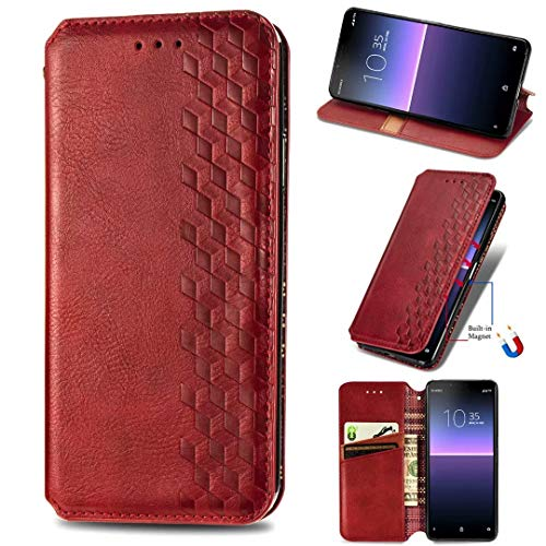 Samsung Galaxy M51 Case, Flip Premium PU Leather Shockproof Wallet Cases with Stand Magnetic Card Slots Folio Silicone Bumper Gel Protective Phone Cover for Samsung Galaxy M51 red