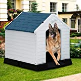 Large Dog House Indoor Outdoor Waterproof Ventilate Plastic Dog House Pet Shelter Crate Kennel with Air Vents and Elevated Floor for Small Medium Large Dogs, Easy to Assemble