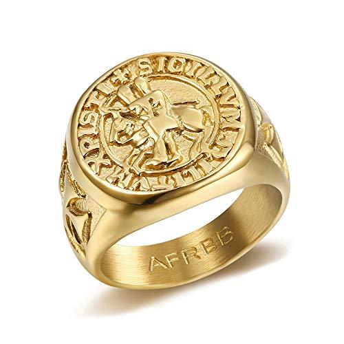 BOBIJOO JEWELRY - Ring Siegelring Templer Siegel Christi Kreuz Sigillum Militum Millitum Stahl-Gold Vergoldet Plattiert Mit - 23,2 (14 US), Vergoldet - Edelstahl 316