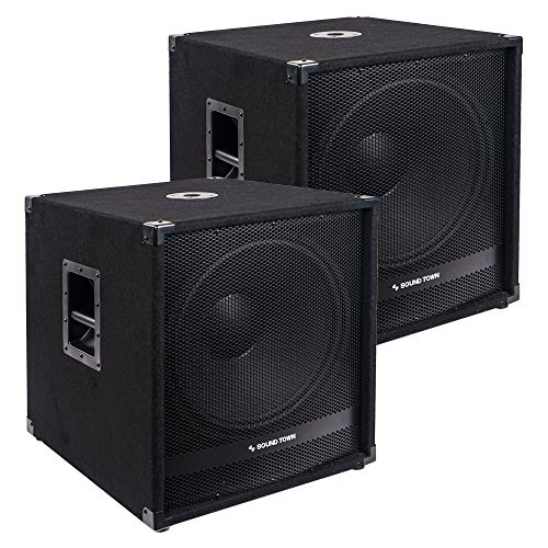 """Sound Town Pair of 18"""" 2400 Watts Powered Subwoofers with Class-D Amplifier, 4-inch Voice Coil (METIS-18SDPW-PAIR)"""