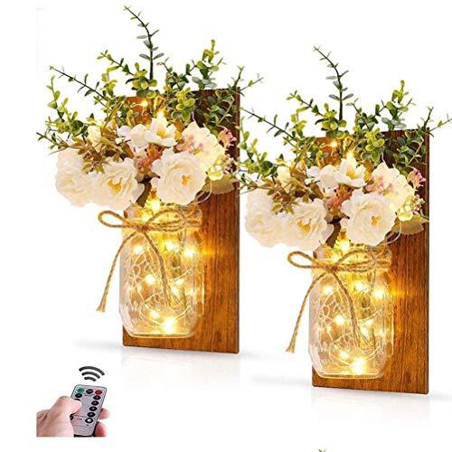 Prevessel Mason Jar - Guirnalda de luces de flores, 2 unidades, decoración con mando a distancia, LED para colgar en la sala de estar, dormitorio