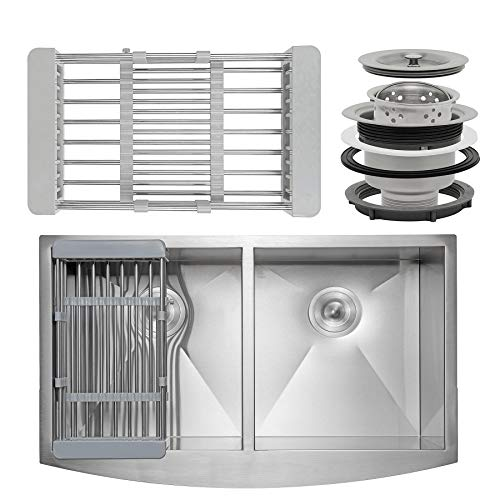 FB Handmade Farmhouse Kitchen Sink 33-inch Undermount 50/50 Double Bowl Stainless Steel 33' x 22' x 9' with Dish Tray & Drain Kit