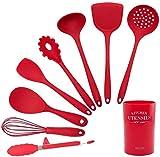Durable 9 piezas de silicona roja utensilios de cocina utensilio conjunto de utensilios de madera Herramientas de cocina para utensilios de cocina antiadherentes Incluye pinzas pasta horquilla batidor
