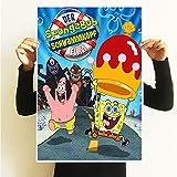 Póster de Bob Esponja enviado gran estrella dibujos dibujos animados decoración habitación infantil pared adhesivo animado dormitorio colgante núcleo A2寸(60X42米) amarillo claro
