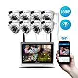 GIHI Conjunto De Sistema De Cámara De Seguridad, con 8X 1080P HD Sistema De Cámara Domo Resistente A La Intemperie, Visión Nocturna LED IR Superior, HD sobre Analógico/BNC, Reproducción Inteligente