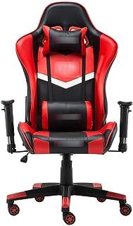 Chaise de jeu MHIBAX Chaise d'ordinateur Chaise de sport électronique Chaise de course en cuir PU réglable Chaise pivot...