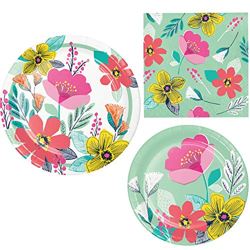 Contemporary Floral Themed Party Supplies for 8 People | Bundle Includes Paper Plates and Napkins