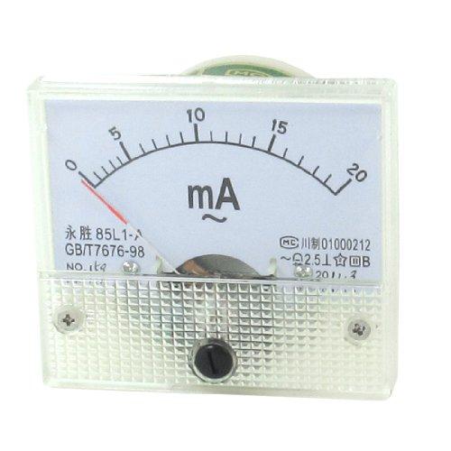 Klasse 2,5AC 0–20mA Rectangle Rectangle Analog Ampere Meter Amperemeter