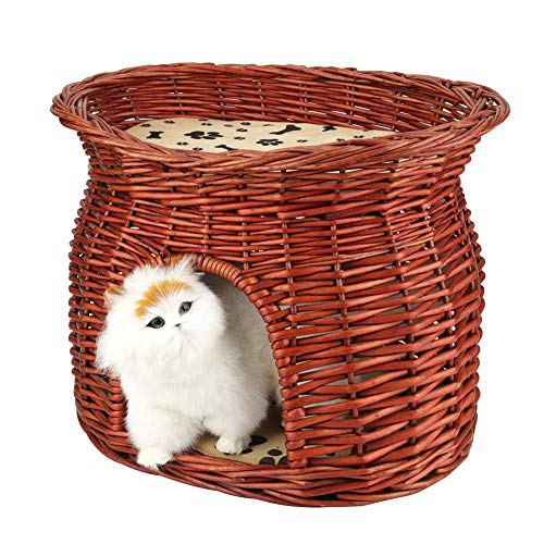 Pet Cats and Dogs Daily Necessities Toys Tickle Amusement Car Bag Wicker Two Tier Cat House Basket, Superior Two Tiers Wicker Cat Tower Bed Basket House + Cushions, Wicker Cat Kitten Bed Basket Pet S