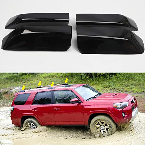 ITrims Black Car Roof Rack Rail End Cover Shell Cap Replacement 4PCS for Toyota 4Runner 4WD N280 TRD Pro 2010-2020 2018 2019