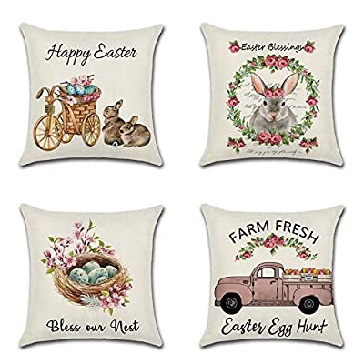 HOMANGA Throw Pillow Covers, 18 x 18 Inch Set of 4 Throw Pillow Cases, Spring Linen Decorative Pillow Covers for Sofa Couch Farmhouse, Cushion Covers for Home Office Car