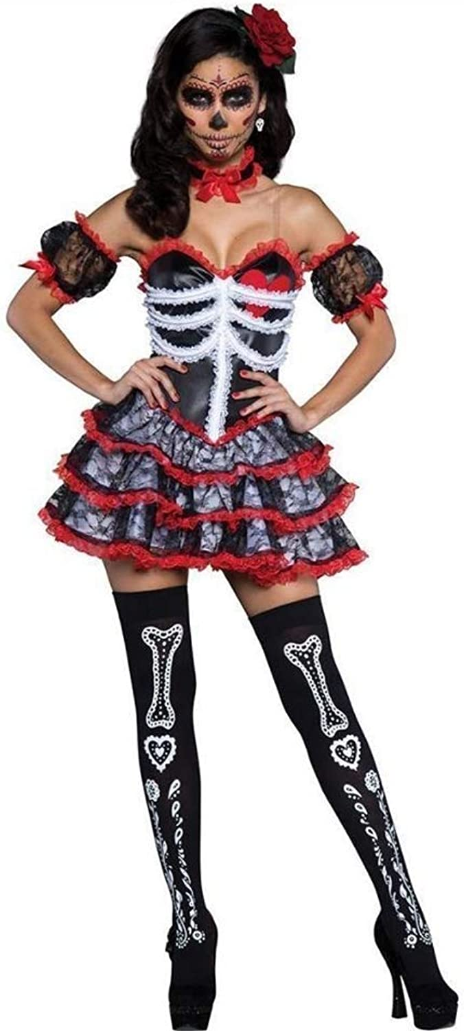 FashionCos1 Halloween Costume Bone Ghost Bride Party Uniform Vampire Demon Role Play Party Witch Dress Queen Black Dress