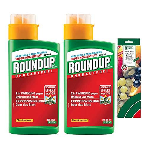 Roundup AC Konzentrat - 2x 400 ml - Unkrautvernichter zur Bekämpfung von Moos und Unkräutern - inkl. DETIA Fruchtfliegenfalle