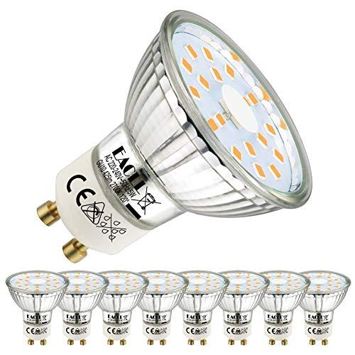 EACLL GU10 LED 5W 2700K Warmweiss Leuchtmittel 425 Lumen Birnen kann Ersetzen 50W Halogen. AC 230V Flimmerfrei Strahler, Abstrahlwinkel 120 ° Spotleuchten, Warmweiß Licht Reflektor Lampen, 8 Pack
