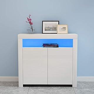 Anaelle Pandamoto Commode de LED Meuble de Rangement en MDF+ Bois avec 4 Compartiments de Stockage + 2 Portes sur Salon, C...