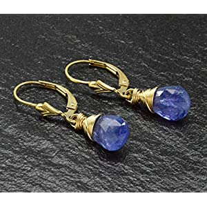Tanzanite 14k Gold-filled Wire Wrapped Briolette Leverback Earrings