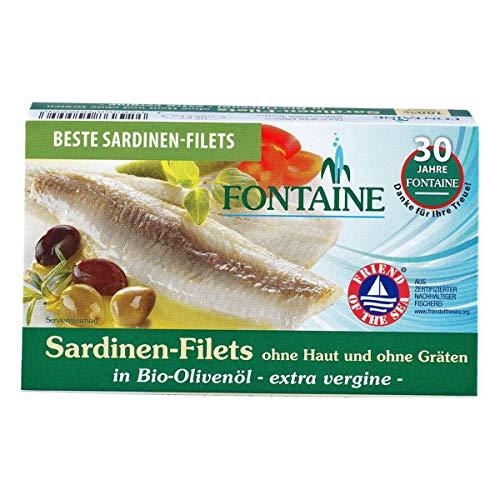 Fontaine - Sardinen ohne Haut und Gräten in Bio-Olivenöl - 120 g - 10er Pack