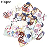 Benoon 100 Uds Botones De Diseño con Estampado De Búho En Forma De Corazón con 2 Agujeros, Botones De Madera, Bolsa De Ropa, Accesorio De Costura, Decoración De Ropa Color Mixto