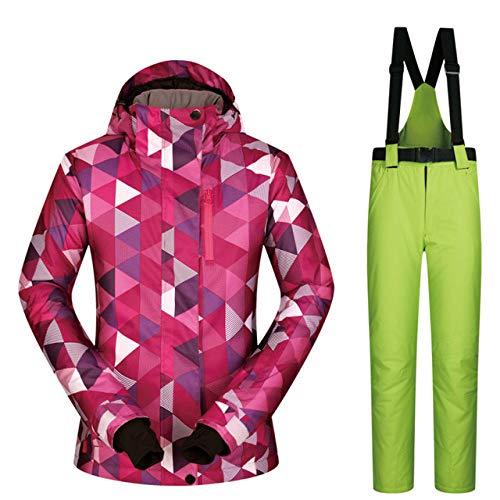 JSGJHXFSki Skipak voor dames, winddicht, waterdicht, warmte-kleding, jas, skibroek, sneeuwkleding, winter, ski- en snowboarpakken van merken