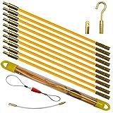 Aewio 通線 入線 配線 呼線工具 ロッド ケーブル牽引具セット3.3m (33cmx10pcs) (全長さ3.3m イエロー)